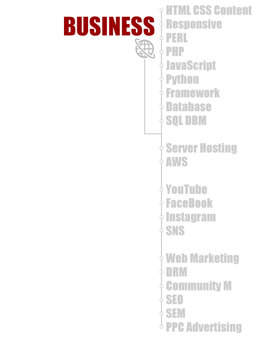 弊社のBUSINESSの種類。WEB HTML Content Flash JavaScript PERL PHP Database SQL DBM Server Hosting YouTube FaceBook WEB Marketing SEO SEM PPC Advertising
